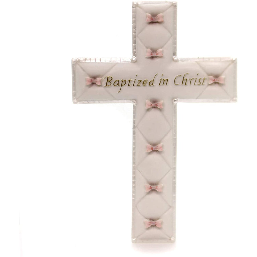 "Baby Nursery ""Baptized in Christ"" Baptism Wall Cross (Baby Girl - Pink)"