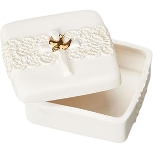 Cross Gold Tone Dove Ivory Lace Detail 2.5 x 2.5 Porcelain Memory Trinket Box