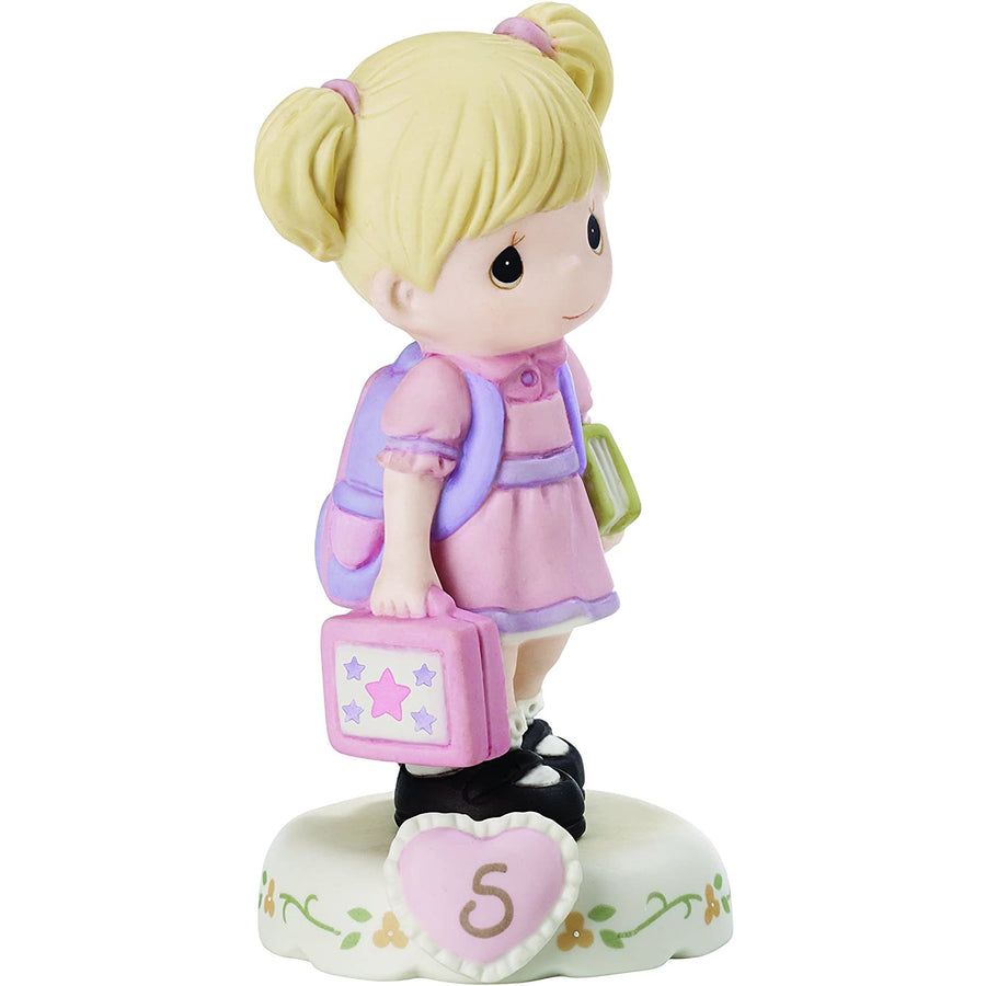 "Precious Moments 152011 ""Growing In Grace, Age 5"" Girl Bisque Porcelain Figurine Birthday Gifts, Blonde"