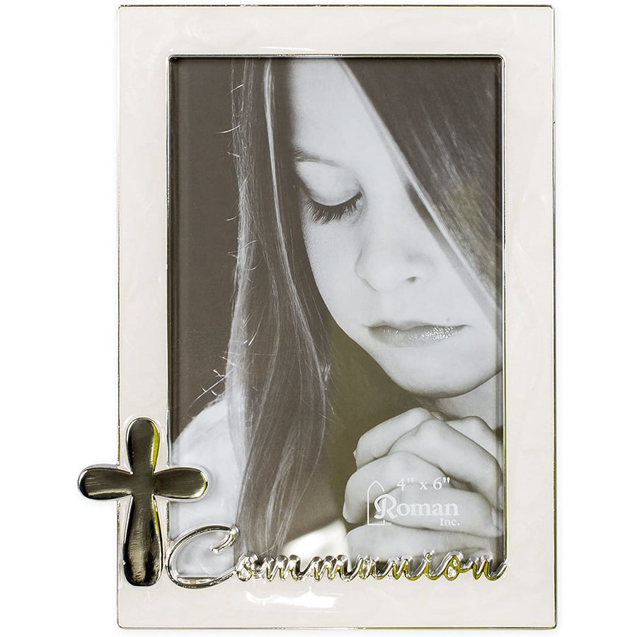 Communion Mother of Pearl Look 7 x 5.5 Inch Metal Table Top Photo Frame