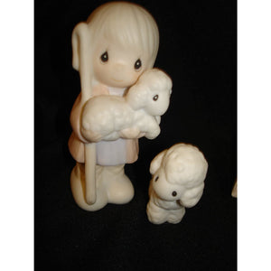 "Precious Moments ""Shepherd With Sheep"" Nativity Figurine"