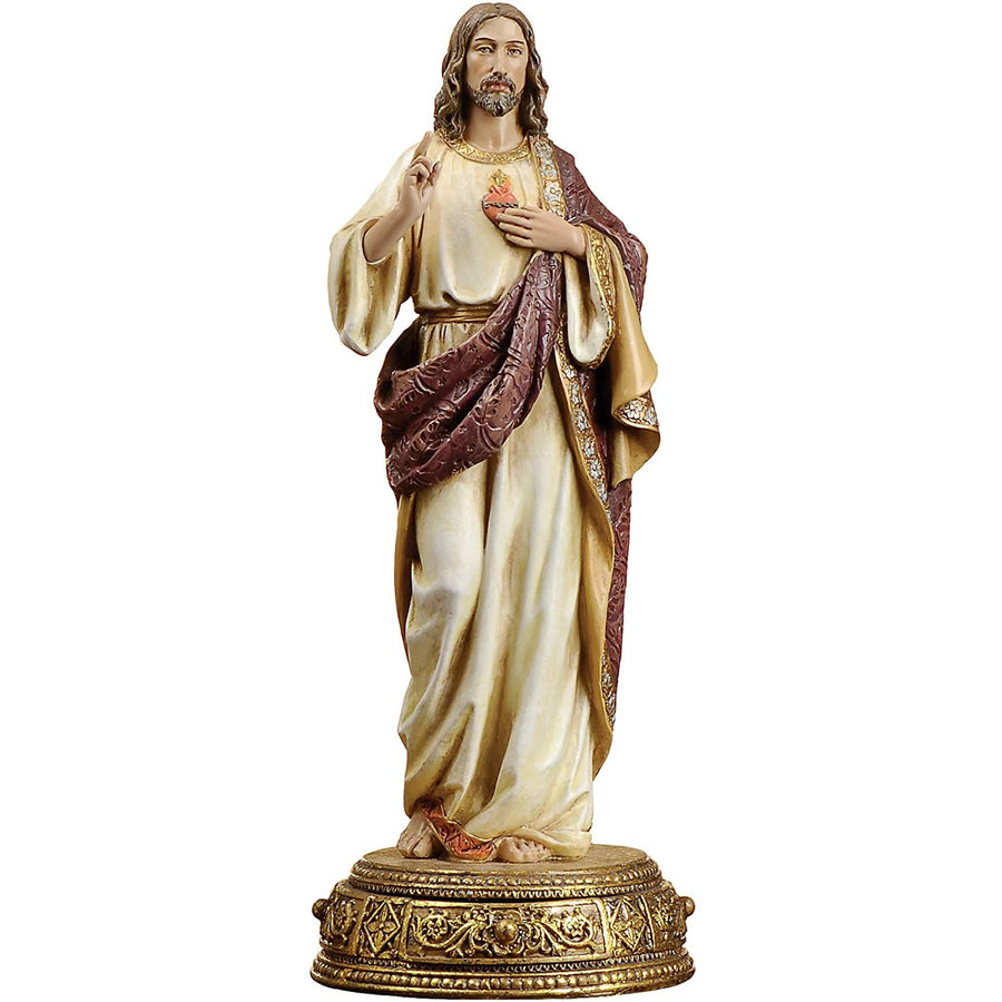 "Joseph's Studio by Roman - Sacred Heart of Jesus Figure, Heavenly Protectors, Renaissance Collection, 10.25"" H, Resin and Stone, Religious Gift, Decoration"