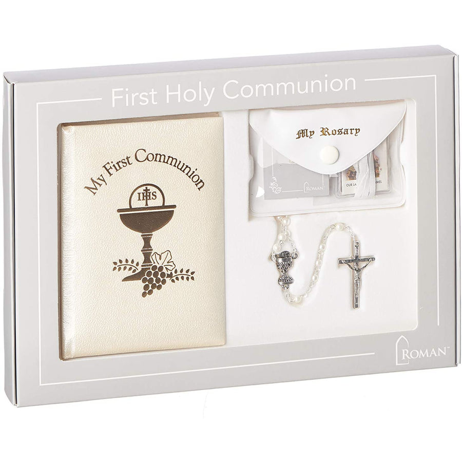 Roman - Deluxe Communion Girl Book and Accessories, 5pc Set, Padded Pearlized Cover, First Communion Collection