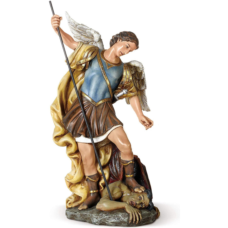 "Joseph's Studio by Roman - St. Michael Figure on Base, 14"" Scale Renaissance Collection, 15.5"" H, Resin and Stone, Religious Gift, Decoration"