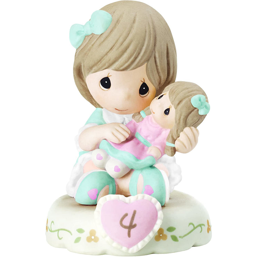 "Precious Moments 152010 ""Growing In Grace, Age 4"" Girl Bisque Porcelain Figurine Birthday Gift, Blonde"
