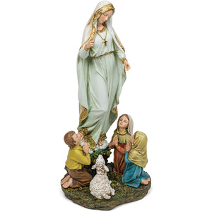 Our Lady of Fatima Children 12 Inch Resin Stone Indoor Outdoor Garden Statue
