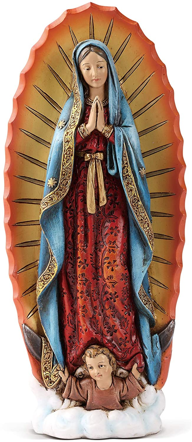 "Joseph's Studio by Roman - Our Lady of Guadalupe Figure on Base, 6"" Scale Renaissance Collection, 7.25"" H, Resin and Stone, Religious Gift, Decoration"