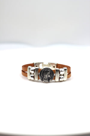 Vintage Virgen Mary bracelet handmade jewelry with Double Leather strap by Graciela's Collection
