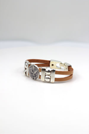 Vintage The Holy Spirit Bracelet handmade jewelry with Leather straps  by Graciela's Collection