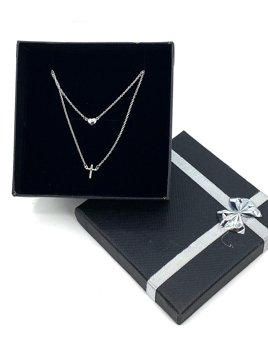 Sterling Silver 925 Rhodium Plated Double Strand Heart and Cross Necklace