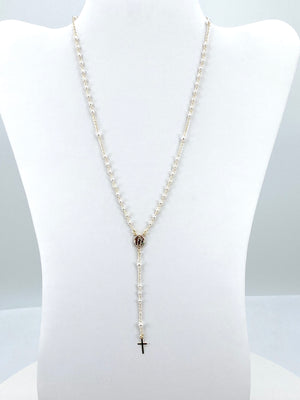 Silver/ gold-plated Rosary Necklace with Pearls- Our Lady of Guadalupe
