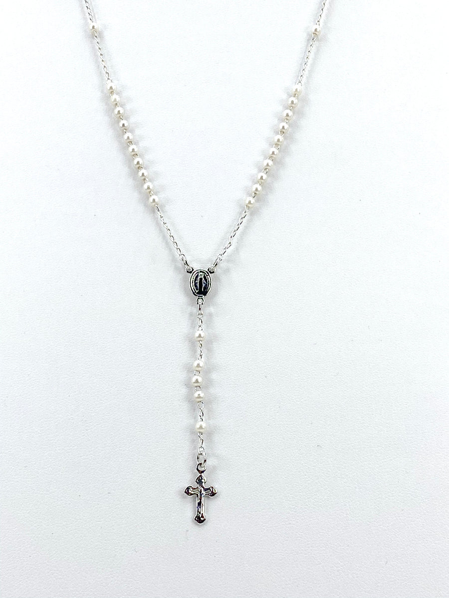 Silver-plated Rosary Necklace with Pearls- Our Lady of Grace