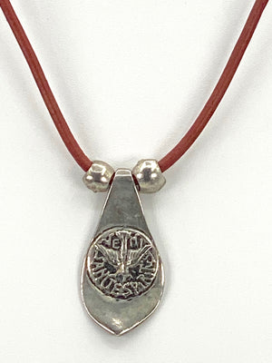 Vintage The Holy Spirit Necklace Handmade Jewelry with Genuine Leather Stap by Graciela's Collection