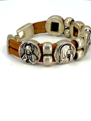 Vintage Bracelet with Double Leather Strap and Medals of The Virgen Mary, St. Benedict, Sacred Heart of Jesus, Guardian Angel, and Holy Spirit  handmade jewelry by Graciela's Collection