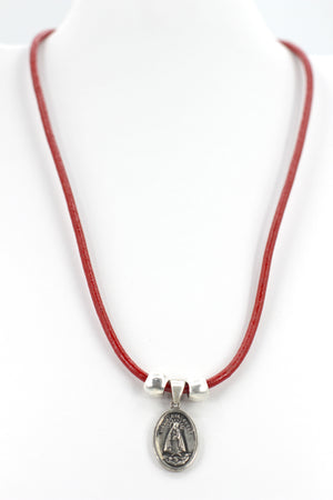 Vintage Necklace of La Caridad Del Cobre - Our Lady Of Charity Jewelry with Genuine Leather strap by Graciela's Collection