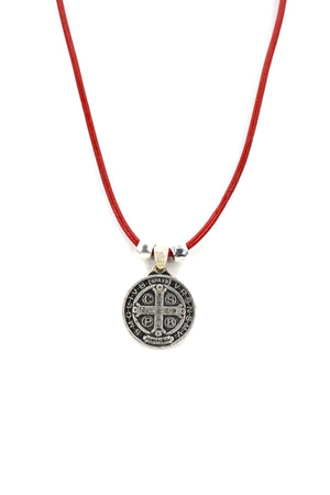 Vintage Necklace of Saint Benedict Handmade Jewelry with Genuine Leather and Reversible strap by Graciela's Collection