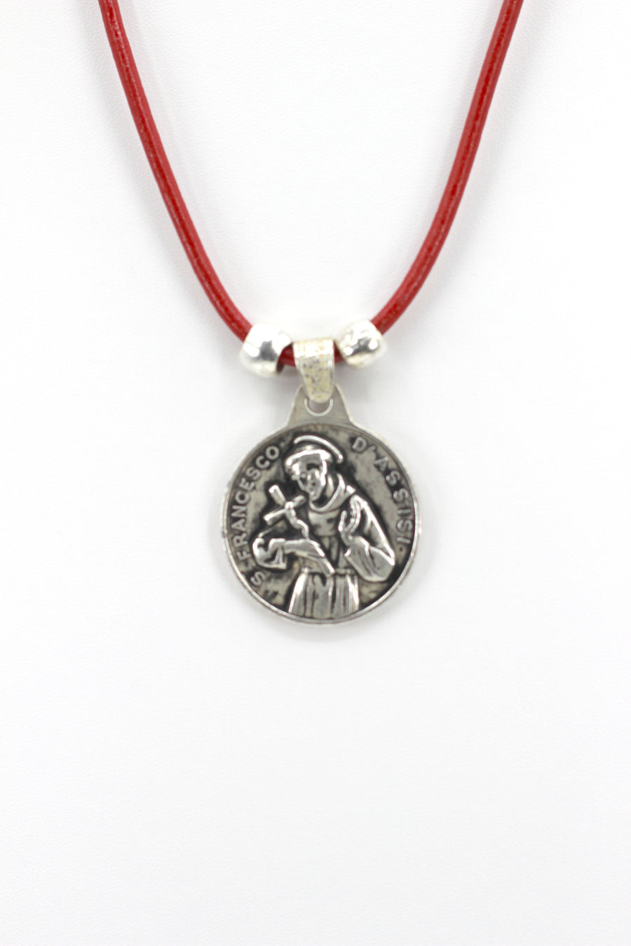 Vintage Necklace of Saint Francis of Assisi Handmade Jewelry with Genuine Leather strap by Graciela's Collection