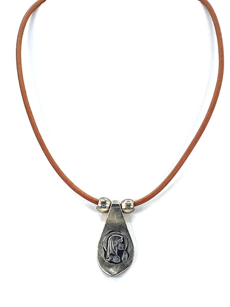 Vintage Virgin Mary Necklace  Handmade Jewelry with Genuine Leather Straps by Graciela's Collection