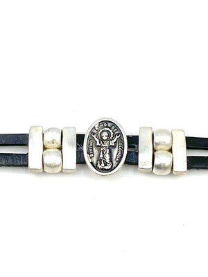 Bracelet Divino Nino Jesus bracelet handmade jewelry with Genuine Double Leather straps by Graciela's Collection