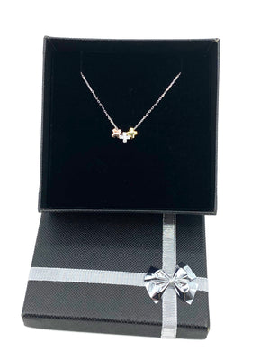 Sterling Silver 3 toned Cross Charms Necklace