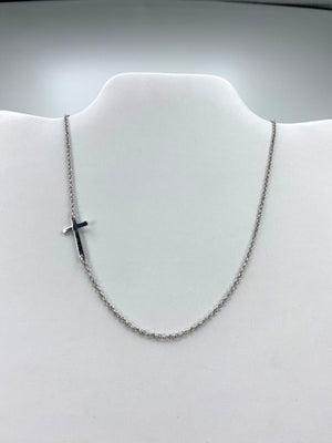 Modern Sterling Silver Side Cross  Necklace