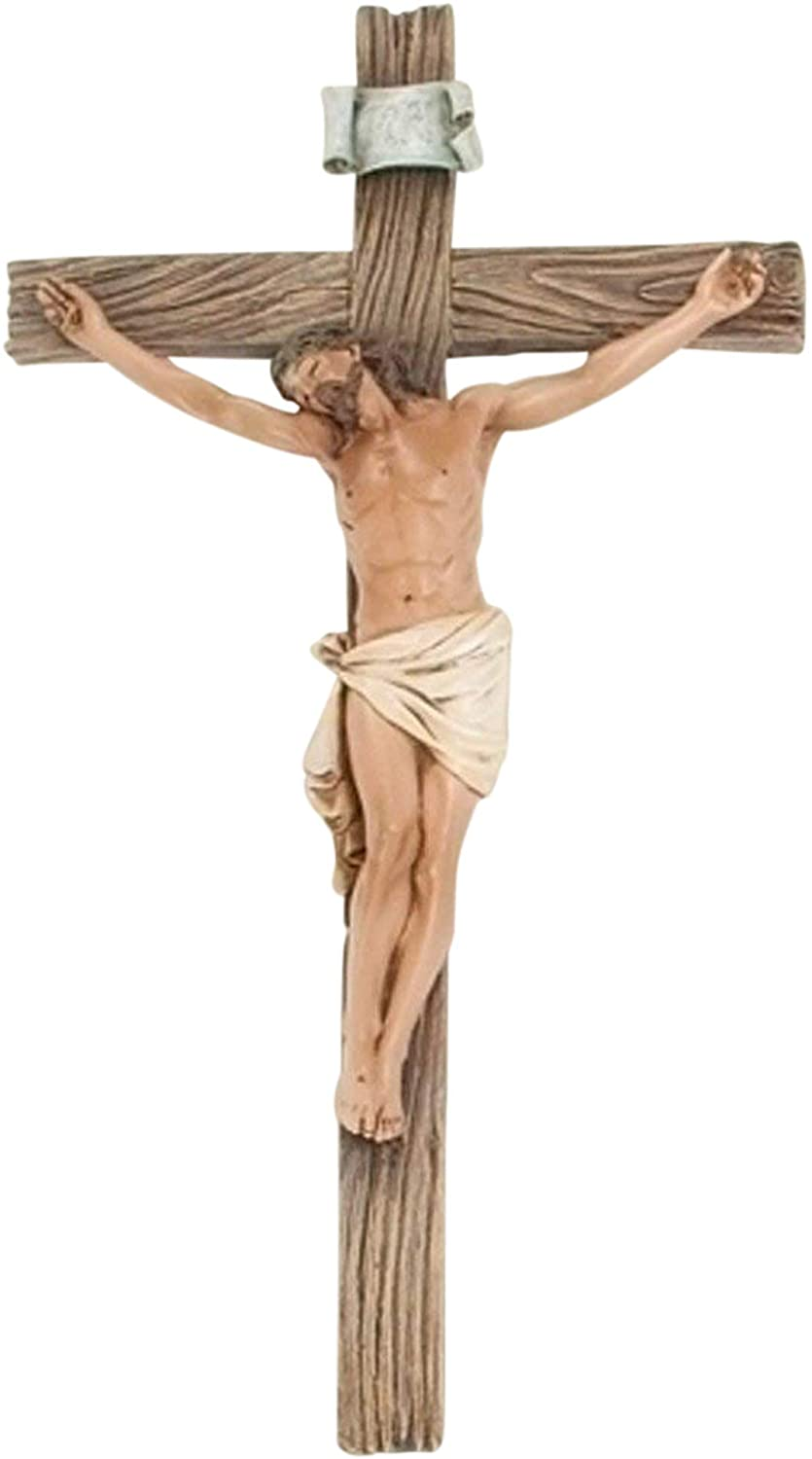 Roman Traditional Figure Textured Wood Look 4.25 x 8 Resin Stone Wall Crucifix