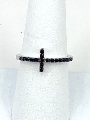 Sterling silver 925 black Sideway Cross ring