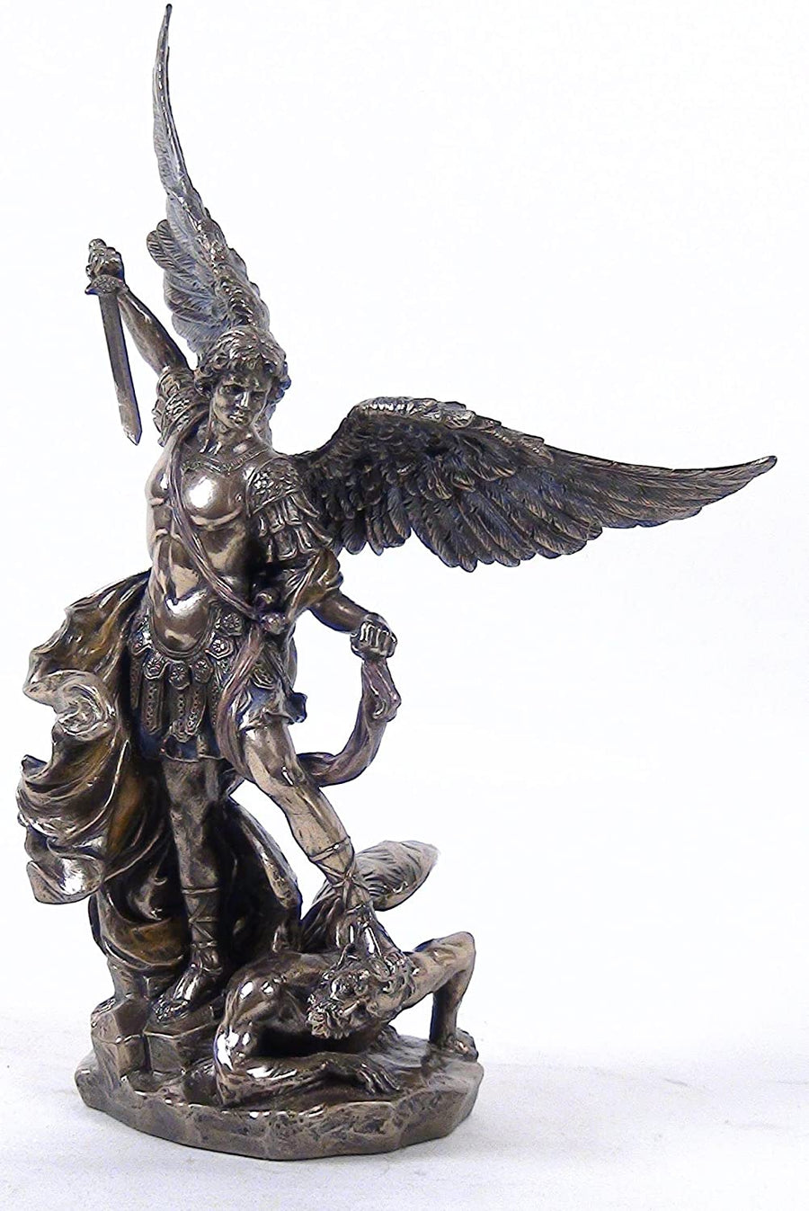10.25 Inch Saint Michael on Demon with Sword Cold Cast Bronze Figurine