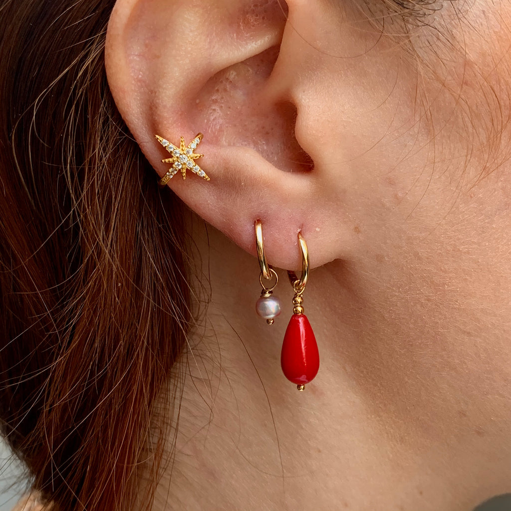 Red Coral Drop Charm