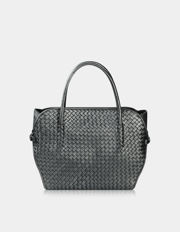 Pana Leather Diamond Weave Bag Metalic Grey