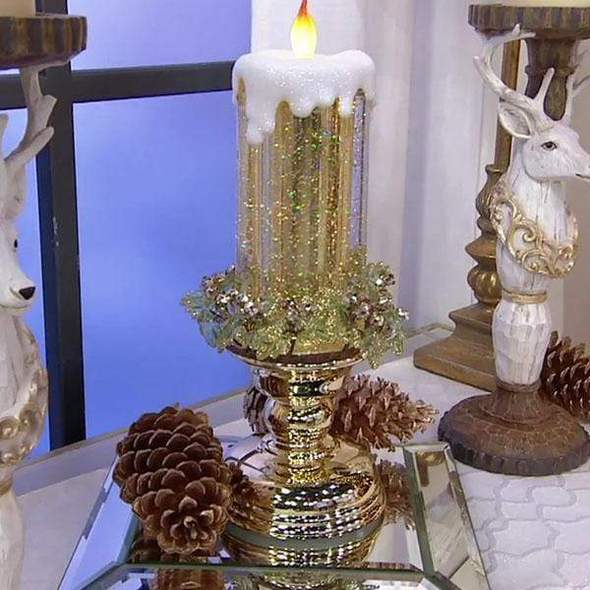 LED Glitter Christmas Candle