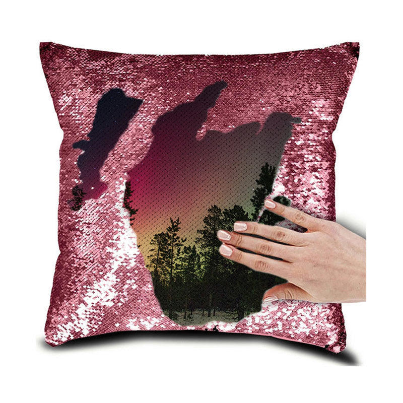 Personalized Sequin Pillow Cushion Cover - 16*16