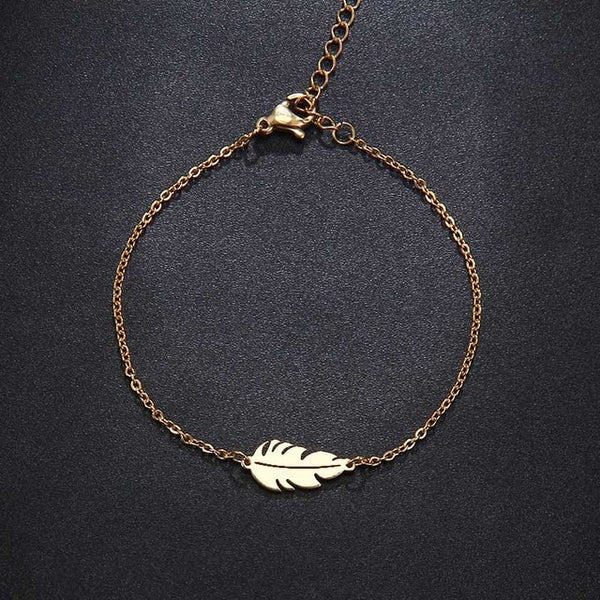 Stainless Steel Feather Shaped Necklace, Bracelet & Earrings