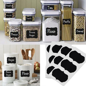 36 pcs Blackboard Sticker Jars Organizer