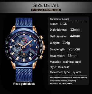 LIGE Men Quartz Gold Watch