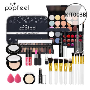 ALL IN ONE makeup kit (eyeshadow, lip gloss,lipstick,makeup brushes,eyebrow,concealer)with makeup bag