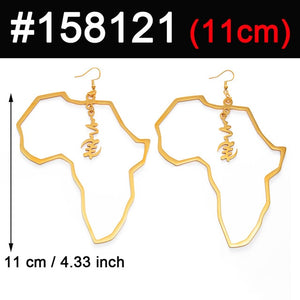 Gold Plated Africa Map Dangle Earring