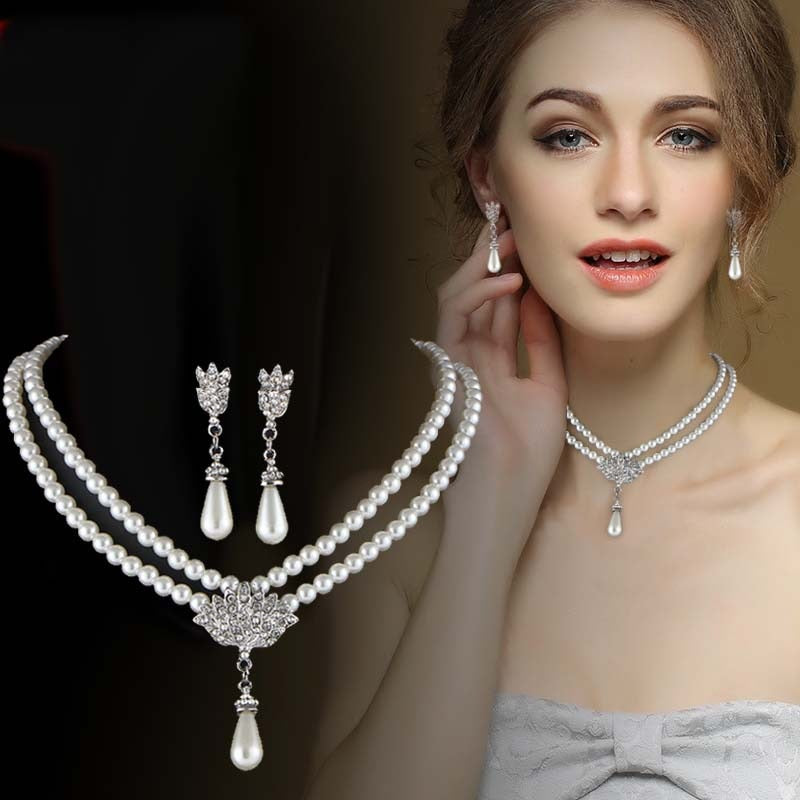 Bride Pearl Crystal Necklace Set