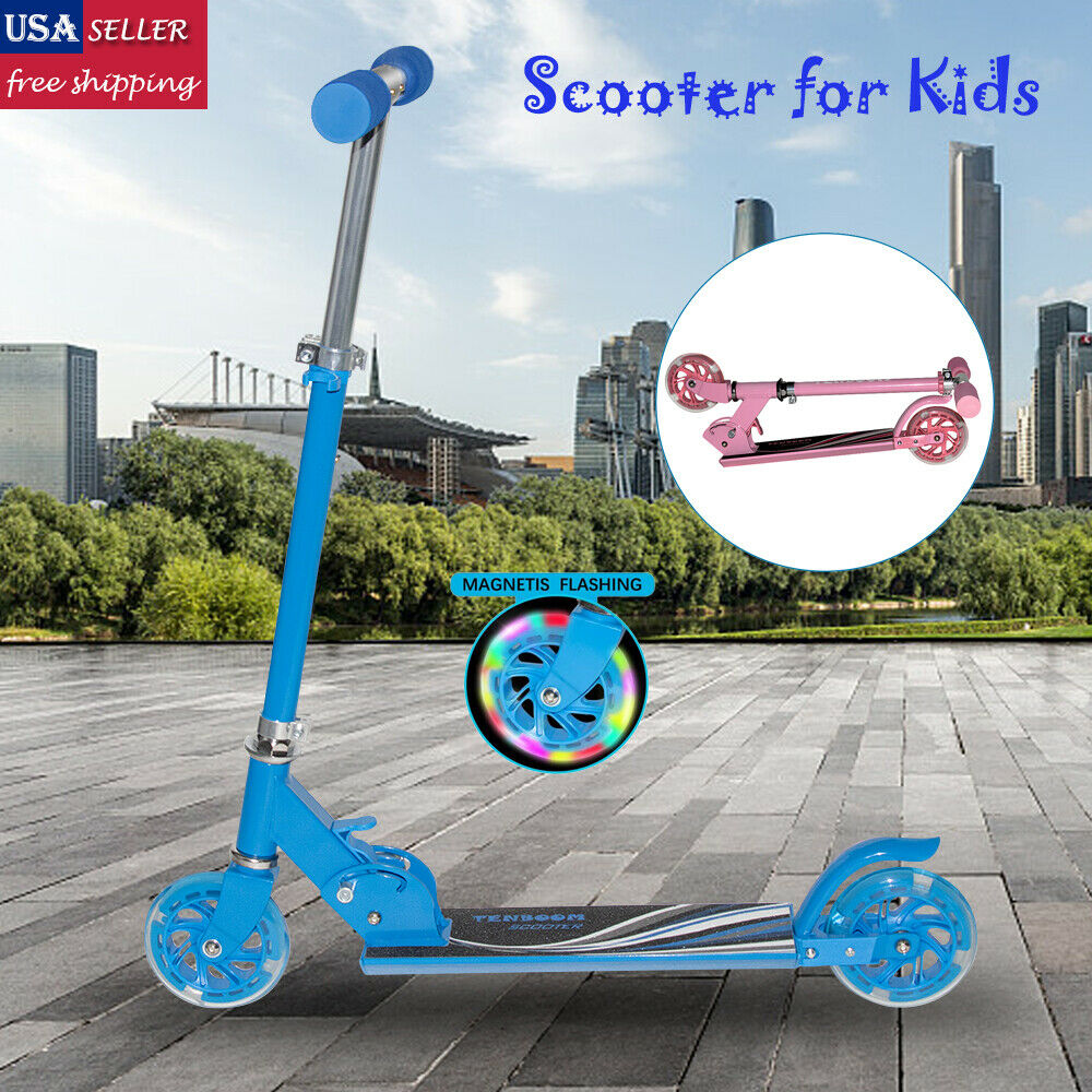 Folding Kick Scooter for Kids Adult Sport Portable Adjustable Ride 2 LED Wheels
