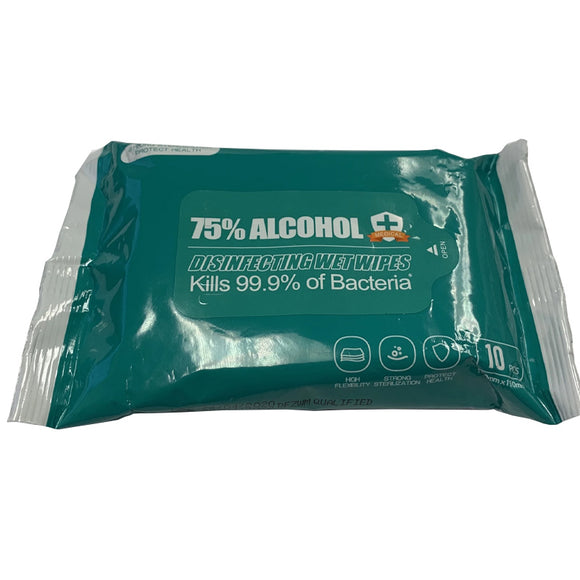 75% Alcohol Antibacterial Wet Wipes In Resealable Pouch - 10 Count