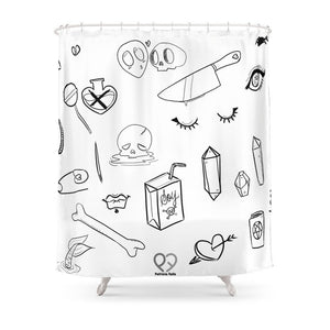 Creepy Cute Witchy Pattern Shower Curtain with 12 Hooks Waterproof