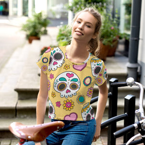 BeWitchy® Skull Print All-Over Print Crop Tee