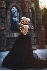 Backless Black Wedding Dress