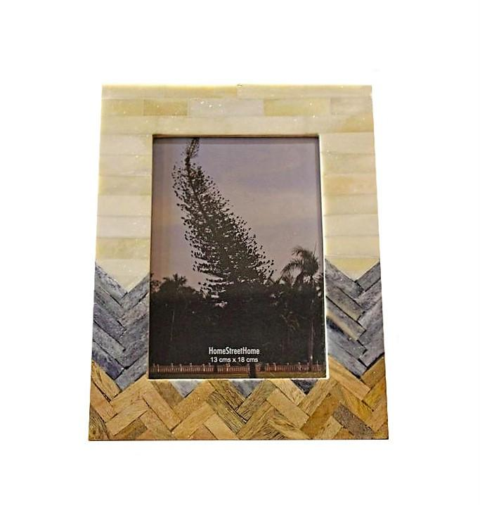 Wide Plain, Grey & Wood Chevron Patterned Photo Frame - HomeStreetHome.ie