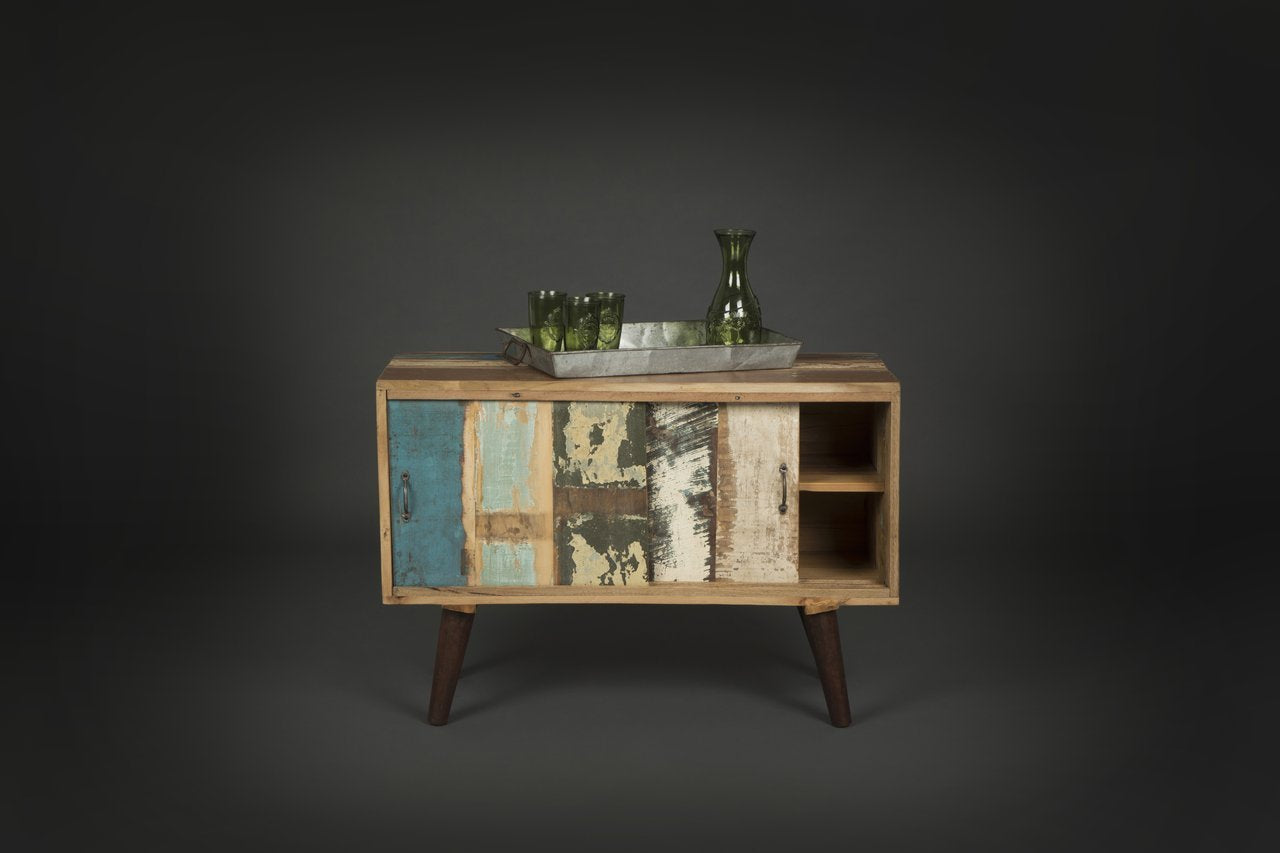 Reclaimed Wood Small Side Console Cabinet with Sliding Doors