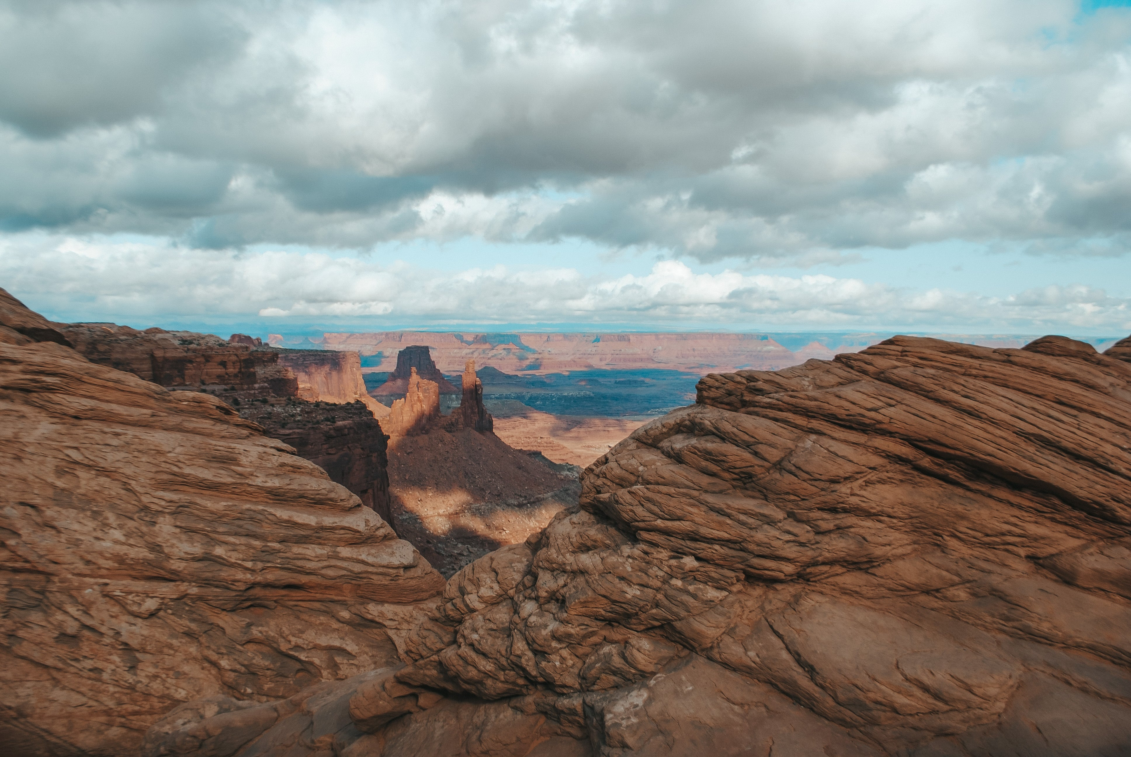 view from mesa arch in canyon lands