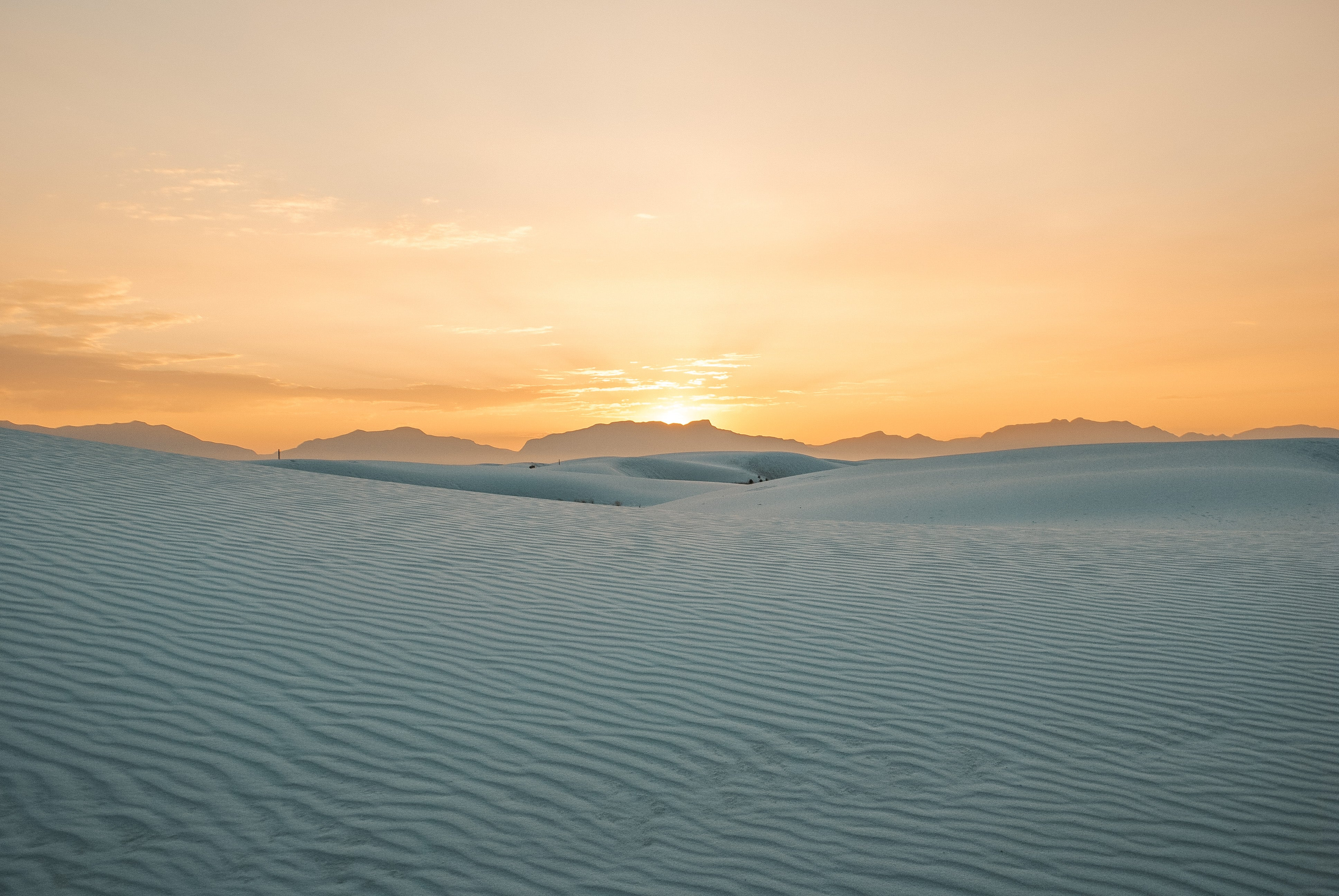 sunset at white sands national park, NM
