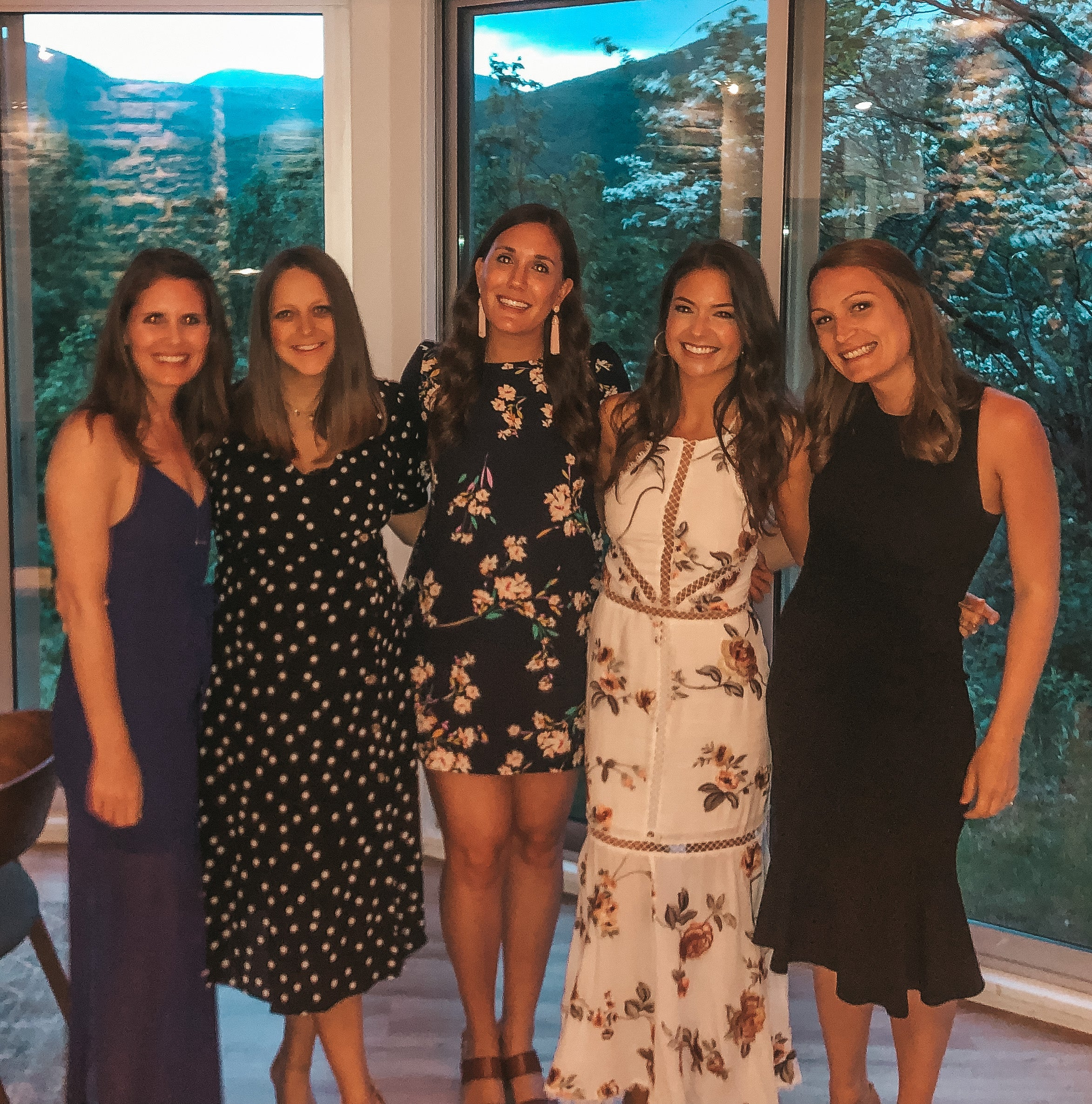 Rehearsal dinner with bridesmaids