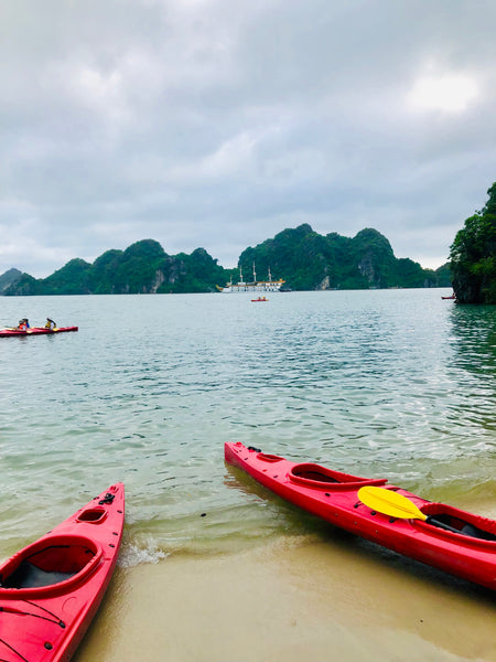 kayaks on ha long bay beach