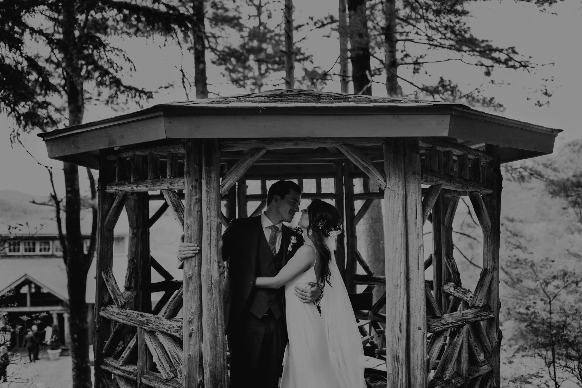 Wedding photo in gazebo